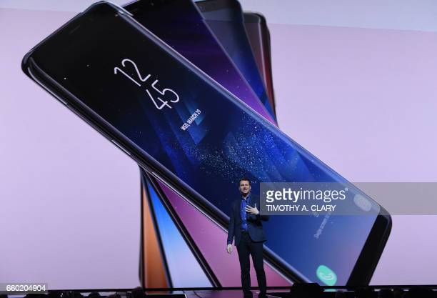 Justin Denison senior vice president of product strategy at Samsung introduces the new Samsung S8 and S8 Plus during a news conference on March 29...