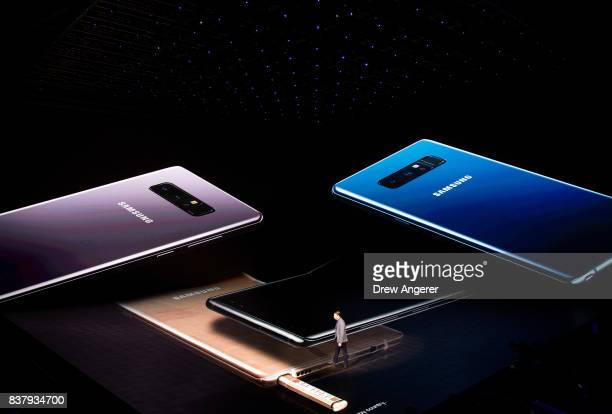 Justin Denison senior vice president of product strategy at Samsung speaks about the during new Samsung Galaxy Note8 smartphone during a launch event...