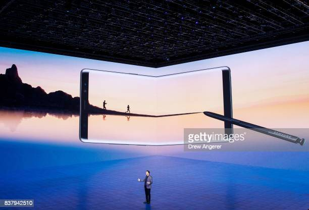 Justin Denison senior vice president of product strategy at Samsung speaks about the during new Samsung Galaxy Note8 smartphone and its infinity...