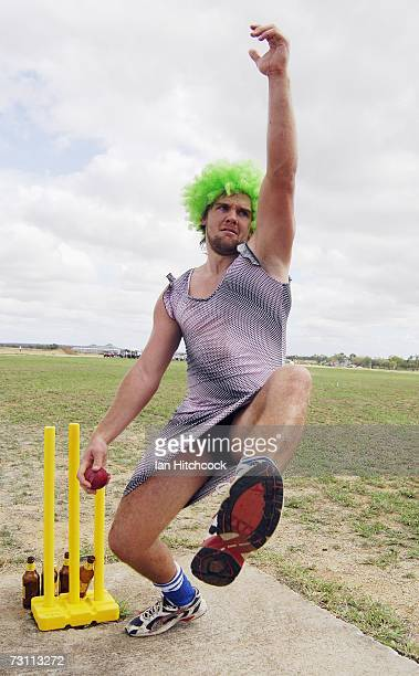 Justin Dennien of the team 'Western Star Pickets' sends down a delivery during the Goldfield Ashes January 26 2007 in Charters Towers Australia...