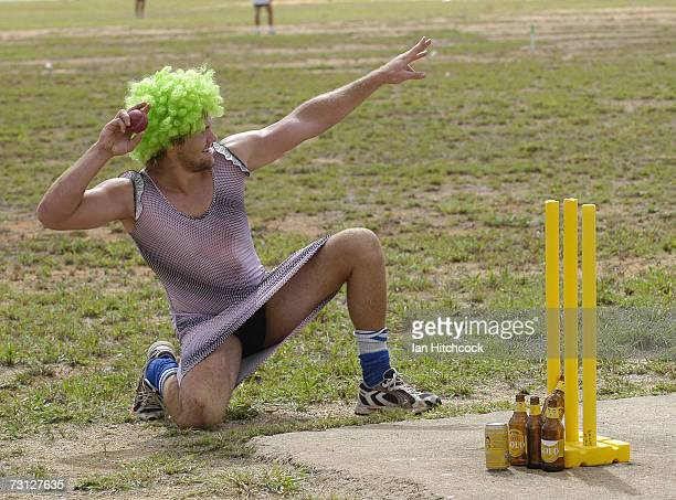 Justin Dennien poses before bowling during the Goldfield Ashes January 26 2007 in Charters Towers AustraliaEarlier in the day Justin dropped a catch...