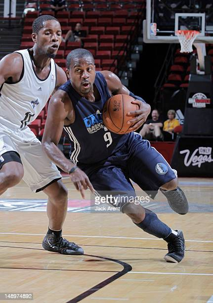 Justin Dentmon of the Dallas Mavericks drives against Jerome Dyson of the New Orleans Hornets during NBA Summer League on July 20 2012 at Thomas Mack...