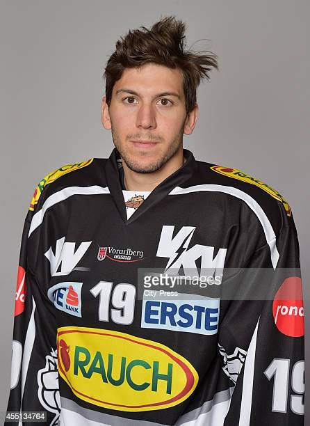 Justin DiBenedetto of Dornbirner Eishockey Club during the portrait shot on august 22, 2014 in Dornbirn, Austria.