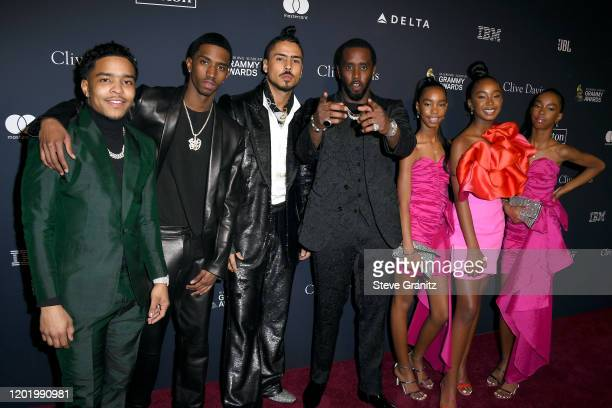 Justin Dior Combs Christian Combs Quincy Brown Honoree Sean Diddy Combs D'Lila Star Combs Chance Combs and Jessie James Combs attend the PreGRAMMY...