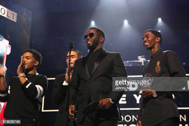 Justin Dior Combs Quincy Brown Sean 'Diddy' Combs and Christian Combs speak onstage at the 2018 Global Spin Awards at The Novo by Microsoft on...