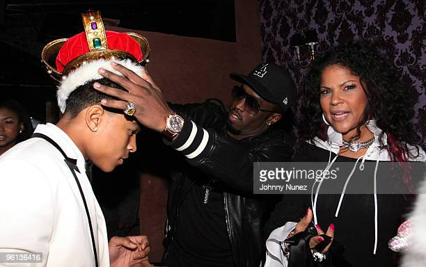 "Justin Dior Combs, Sean ""Diddy"" Combs and Misa Hilton attend Justin Dior Comb's 16th birthday party at M2 Ultra Lounge on January 23, 2010 in New..."