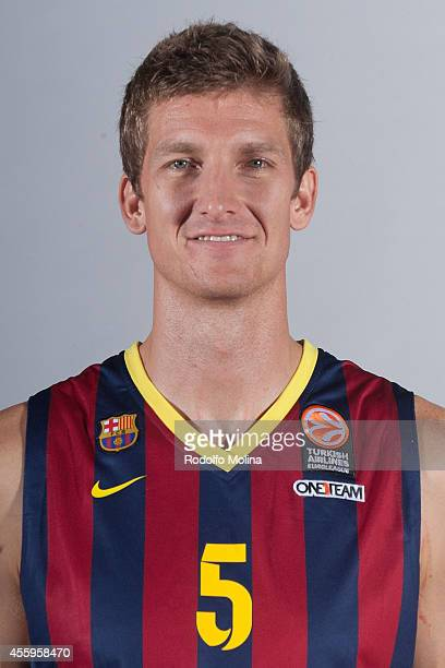 Justin Doellman #5 of FC Barcelona poses during the FC Barcelona 2014/2015 Turkish Airlines Euroleague Basketball Media Day at Ciutat Esportiva Joan...