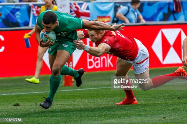 Justin Douglas of Canada fails to catch Irish attacker in Match Ireland vs Canada during the LA Sevens Round 5 of the HSBC World Rugby Sevens Series...
