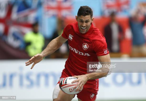 Justin Douglas of Canada scores a try against France during the Canada Sevens the Sixth round of the HSBC Sevens World Series at the BC Place stadium...