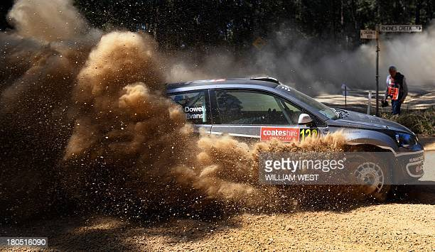 Justin Dowel of Australia slides his Volkswagen through a corner in Rally Australia in the World Rally Championship in Coffs Harbour on September 14...