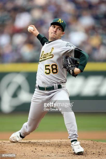 Justin Duchscherer of the Oakland Athletics delivers the pitch during the MLB game against the Seattle Mariners on April 26 2008 at Safeco Field in...