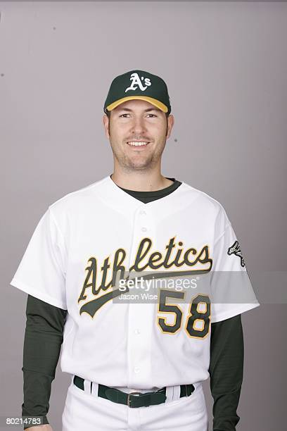 Justin Duchscherer of the Oakland Athletics poses for a portrait during photo day at Phoenix Municipal Stadium on February 25 2008 in Phoenix Arizona