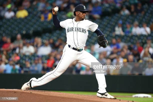 Justin Dunn of the Seattle Mariners pitches during his MLB debut in the first inning against the Cincinnati Reds during their game at T-Mobile Park...