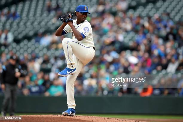 September 29: Justin Dunn of the Seattle Mariners pitches during the game against the Oakland Athletics at T-Mobile Park on September 29, 2019 in...