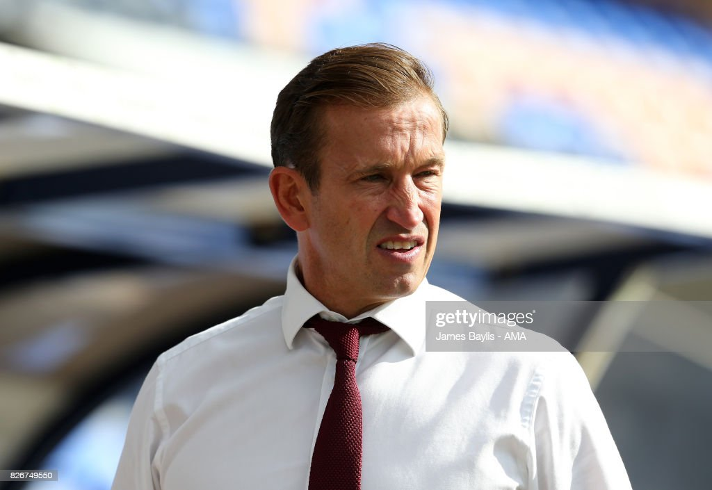 Justin Edinburgh manager of Northampton Town during the Sky Bet League One match between Shrewsbury Town and Northampton Town at New Meadow on August 5, 2017 in Shrewsbury, England.