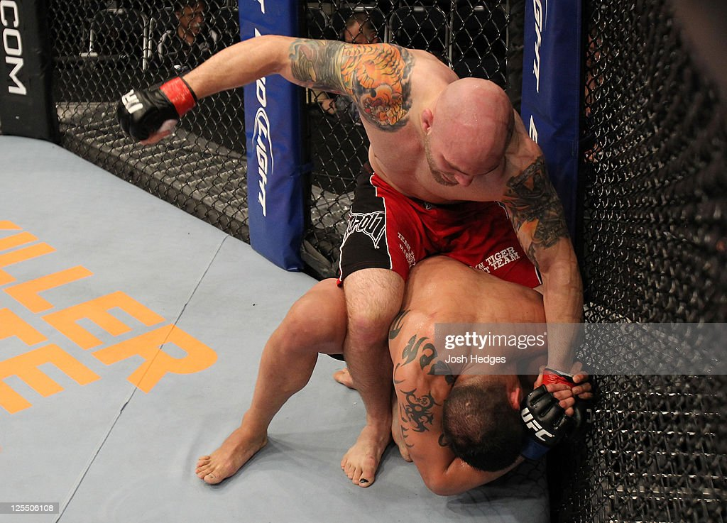 Justin Edwards punches Jorge Lopez during the UFC Fight Night event at the New Orleans Convention Center on September 17, 2011 in New Orleans, Louisiana.