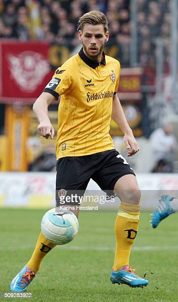 Justin Eilers of Dresden during the Third League match between Hallescher FC and SG Dynamo Dresden at erdgas Sportpark on February 07 2016 in Halle...