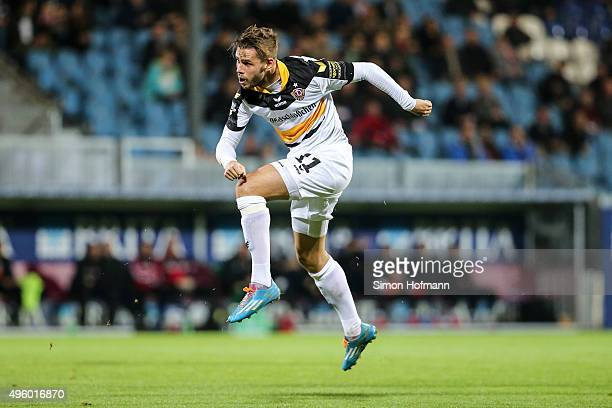 Justin Eilers of Dresden tries to score during the 3 Liga match between SV Wehen Wiesbaden and Dynamo Dresden at BRITAArena on November 6 2015 in...