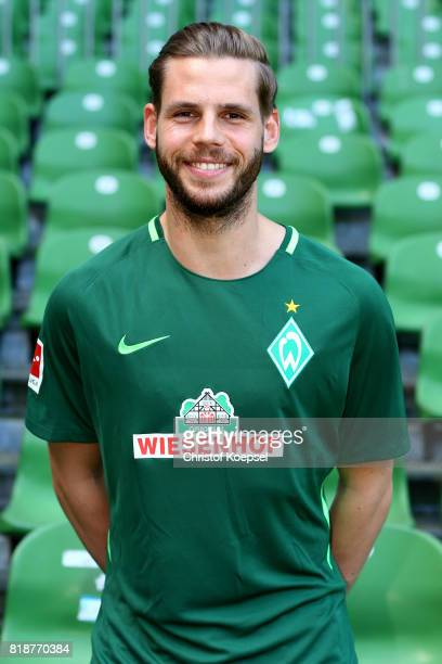 Justin Eilers of Werder Bremen poses during the team Justin Eilerspresentation at Weser Stadium on July 19 2017 in Bremen Germany