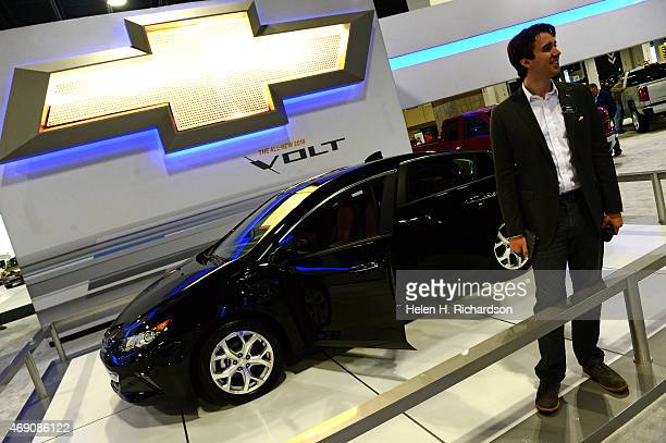 Justin Elias shows of the new Chevy Volt at the Denver Auto Show in Denver Colorado on April 9 2015 The second generation Volt of which there are...