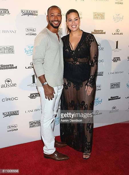 Justin Ervin and Ashley Graham attends Sports Illustrated Swimsuit 2016 Swim BBQ VIP at 1 Hotel Homes South Beach on February 17 2016 in Miami Beach...