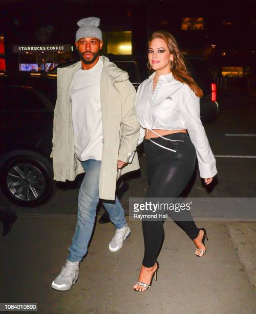 Justin Ervin and model Ashley Graham are seen in Midtown on January 17 2019 in New York City