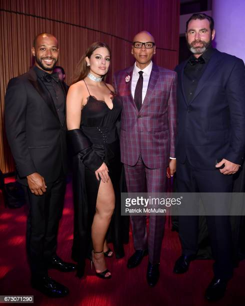 Justin Ervin Ashley Graham RuPaul Andre Charles and Georges LeBar attend the 2017 TIME 100 Gala at Jazz at Lincoln Center on April 25 2017 in New...