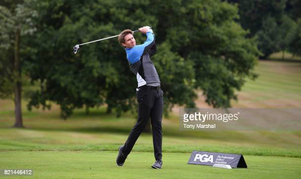 Justin Evans of Wisley Golf Club plays his first shot on the 1st tee during the Golfbreakscom PGA Fourball Championship South Qualifier at Surbiton...