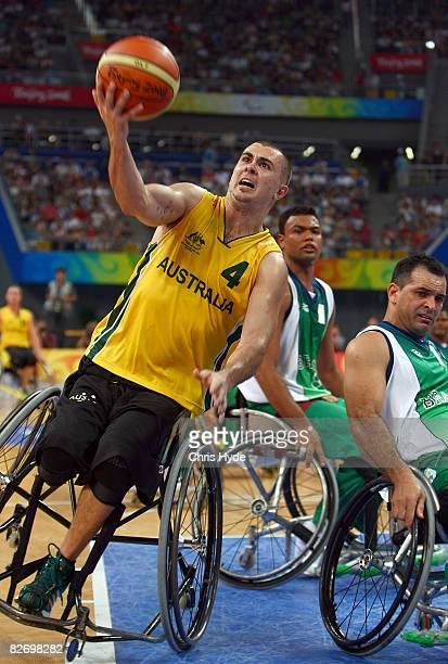 Justin Everson of Australia competes during the Wheelchair Basketball match between Australia and Brazil at the National Indoor Stadium on September...