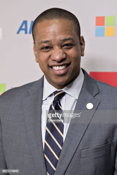 Justin Fairfax lieutenant governor of Virginia attends the 25th Annual White House Correspondents Garden Brunch in Washington DC US on Saturday April...