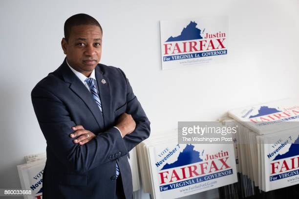Justin Fairfax the Democratic candidate for Virginia lieutenant governor is pictured during an interview at his campaign headquarters in Arlington VA...