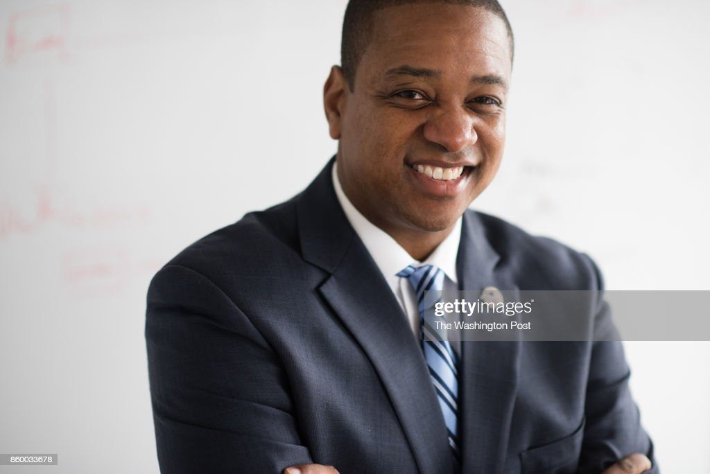Justin Fairfax, the Democratic candidate for Virginia lieutenant governor is pictured during an interview at his campaign headquarters in Arlington, VA on Wednesday September 13, 2017. : News Photo