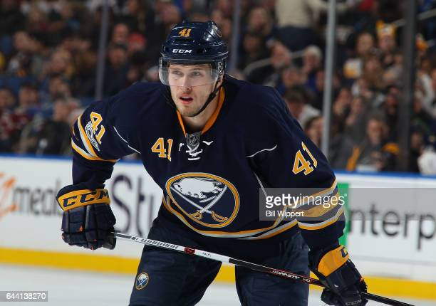 Justin Falk of the Buffalo Sabres skates against the Colorado Avalanche during an NHL game at the KeyBank Center on February 16 2017 in Buffalo New...