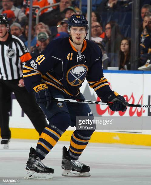 Justin Falk of the Buffalo Sabres skates against the Philadelphia Flyers during an NHL game at the KeyBank Center on March 7 2017 in Buffalo New York