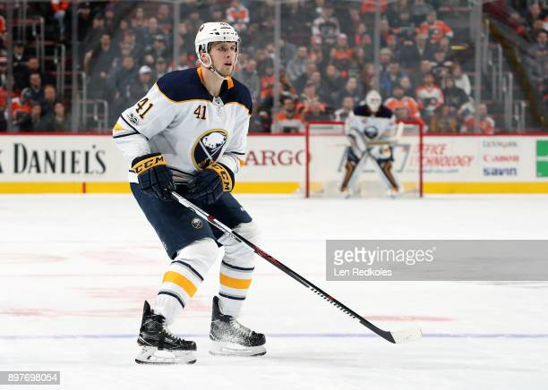 Justin Falk of the Buffalo Sabres skates back on defense against the Philadelphia Flyers on December 14 2017 at the Wells Fargo Center in...
