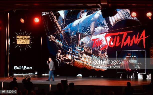 Justin Farren creative director at Ubisoft Singapore introduces the game 'Skull Bones' at the Ubisoft E3 2018 media briefing inside the Orpheum...
