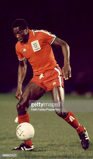 Justin Fashanu in action for England Under21 during their match against Switzerland Under21 at Portman Road in Ipswich 18th November 1980