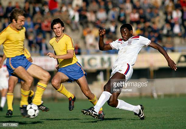 Justin Fashanu of England in action against Romania in an Under21 International match held in Pitesti Romania on 14th October 1980 Romania won 40