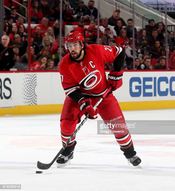Justin Faulk of the Carolina Hurricanes controls the puck on the ice during an NHL game against the Carolina Hurricanes on February 13 2018 at PNC...