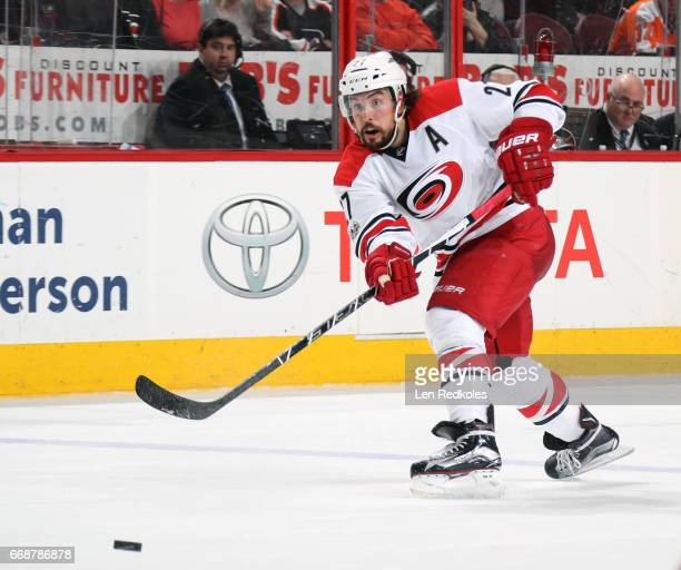 Justin Faulk of the Carolina Hurricanes passes the puck against the Philadelphia Flyers on April 9 2017 at the Wells Fargo Center in Philadelphia...