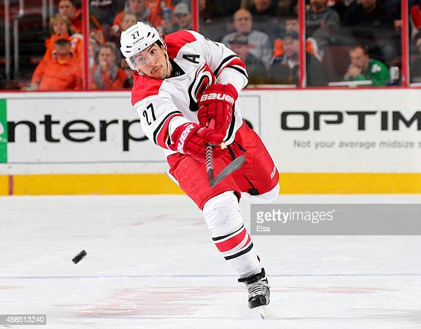 Justin Faulk of the Carolina Hurricanes passes the puck in the first period against the Philadelphia Flyers on November 23 2015 at the Wells Fargo...