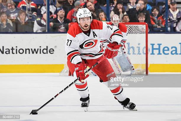 Justin Faulk of the Carolina Hurricanes skates against the Columbus Blue Jackets on January 9 2016 at Nationwide Arena in Columbus Ohio