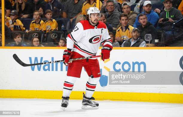 Justin Faulk of the Carolina Hurricanes skates against the Nashville Predators during an NHL game at Bridgestone Arena on December 21 2017 in...