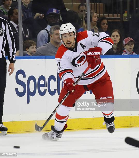 Justin Faulk of the Carolina Hurricanes skates against the New York Rangers at Madison Square Garden on December 3 2016 in New York City The Rangers...