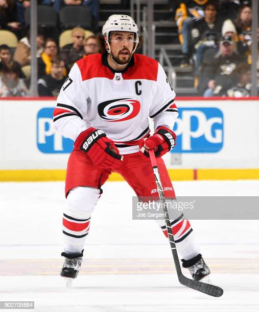 Justin Faulk of the Carolina Hurricanes skates against the Pittsburgh Penguins at PPG Paints Arena on January 4 2018 in Pittsburgh Pennsylvania