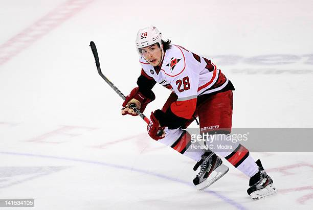 Justin Faulk of the Carolina Hurricanes skates during a NHL game against the Florida Panthers of the Carolina Hurricanes at the BankAtlantic Center...