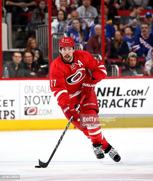 Justin Faulk of the Carolina Hurricanes skates during an NHL game against the New York Rangers at PNC Arena on March 31 2016 in Raleigh North Carolina