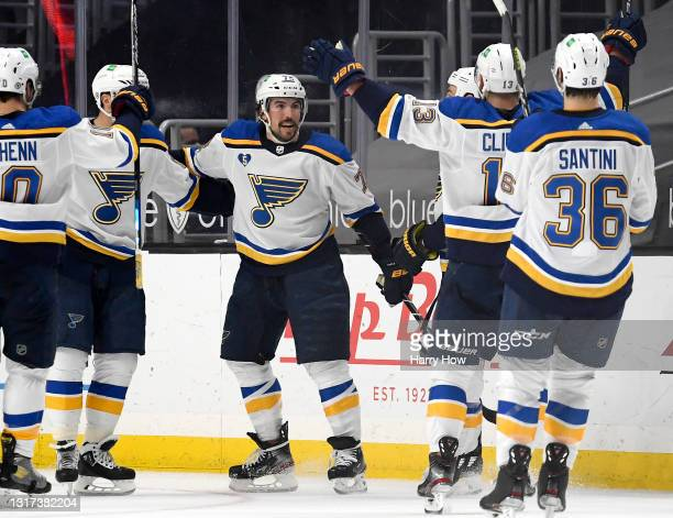 Justin Faulk of the St. Louis Blues celebrates his goal for a 2-1 overtime win over the Los Angeles Kings at Staples Center on May 10, 2021 in Los...