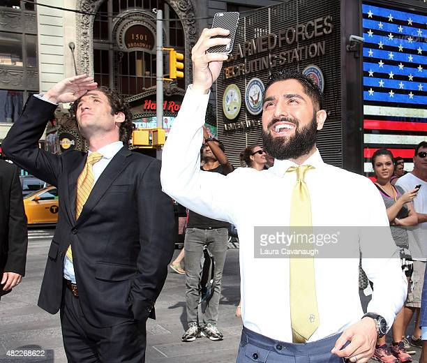 Justin Fichelson and Roh Habibi attend Million Dollar Listing San Francisco Rings The Nasdaq Stock Market Opening Bell at NASDAQ MarketSite on July...