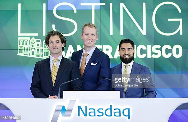 Justin Fichelson Andrew Greenwell and JRoh Habibi ring the Nasdaq Stock Market opening bell celebrating the Million Dollar Listing San Francisco...